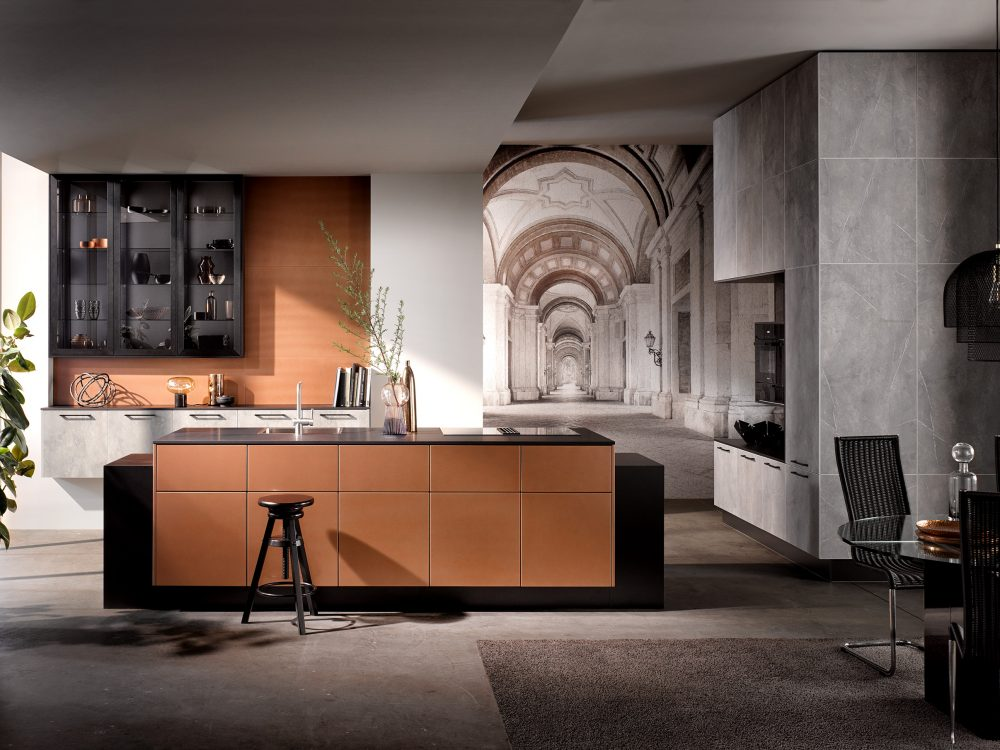 Häcker Design Küche mit Kupfer und Marmorfront Küchentrends-2021