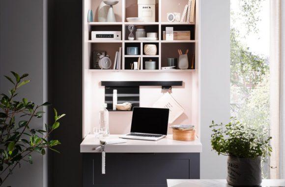 Küchentrends 2021 Lotus-Graphit Häcker Küche mit Homeoffice Arbeitsplatz