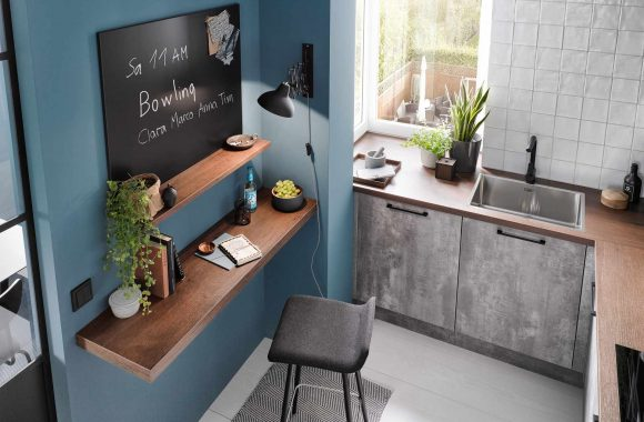 Küchentrends 2021 Perlgraue Häcker Küche mit Homeoffice